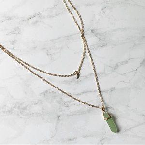 🛍3/$20 Boho Healing Crystal Layered Moon Necklace